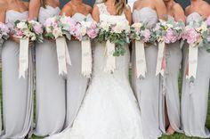 light gray bridesmaid dresses with monogrammed bouquet ribbons | Adam + Alli #wedding