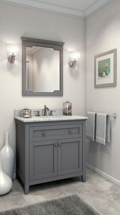 Browses grey bathroom vanity ideas, find plenty of new bathroom designs to inspire and help you begin decorating a new bathroom. Upstairs Bathrooms, Downstairs Bathroom, Bathroom Renos, Bathroom Renovations, Home Remodeling, Small Grey Bathrooms, Small Bathroom Remodeling, Inexpensive Bathroom Remodel, Master Bathroom