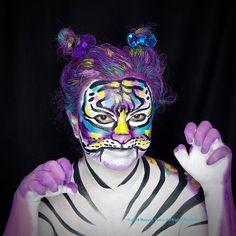 (#Artist @mayukathais #Model : @lizzanpower ) #cat #tiger #feline #purple #skinart #bodyart #art #painting #stripes #ボディーアート #ボディーペイント #facepainting #paint #wolfefx #kitty #kittycat #tigress #fantasy #pop #fun #bodypainting #specialeffects #mua #sfx #animal #wildlife #タイガー #虎