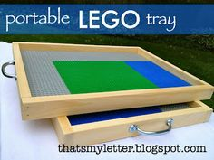 make a portable Lego tray, for taking in the car or any place boring to the kids