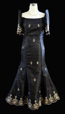 Qualitative Barong Tagalog, Filipiniana Dresses - Barongs R us Long A Line Skirt, A Line Skirts, Modern Filipiniana Dress, Line Shopping, Formal Gowns, Traditional Dresses, Barot Saya, Barong Tagalog, Stylish