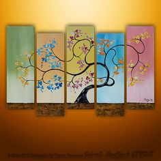 Abstract Original Modern Landscape Tree Asian Blossom Painting Textured Art by Gabriela 50x30 Large. $249.00, via Etsy.