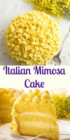 Italian Mimosa Cake, a delicious sponge cake recipe with layers of special Italian cream, a classic Naturally Yellow Italian Cake, a delicate creamy dessert. Enjoy. anitalianinmykitchen.com