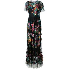 Zuhair Murad embroidered maxi dress ($15,115) ❤ liked on Polyvore featuring dresses, black, embroidery dress, multi print dress, silk maxi dress, zuhair murad and multi-color dresses