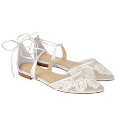 Alicia 'Euphoria' capsule bridal collection. Comfortable and feminine lace bridal wedding ballet flats. Adorned with delicate Alencon lace, cross ankle straps and floral embroidery. Shop now!