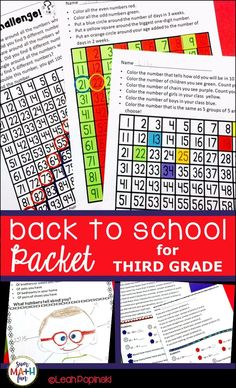 Are you ready? Do you have that very first day essential? Do you have a great First Day Packet? A packet with activities that your kids can do independently while you get the gamillion of teachery things done you have to do? A packet that will keep them e Fun Math, Math Activities, Math Games, Beginning Of The School Year, Back To School, Third Grade Math, Grade 2, Teaching Math, Teaching Tools