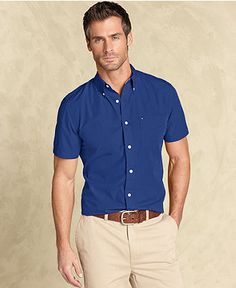 Tommy Hilfiger Shirt, Slim Fit Max Button Down - Mens Shirts - Macys