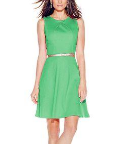 Loving this Greenwich Garden Pleat-Neck Fit & Flare Dress on #zulily! #zulilyfinds