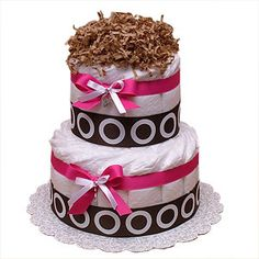 Modern Hot Pink and Brown Diaper Cake