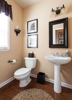 Traditional Powder Room with Hickory Manor House Beaded Bracket Shelf, Powder room, Hardwood floors, Pedestal sink
