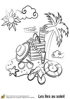 Des accessoires de plage sur une île, à colorier