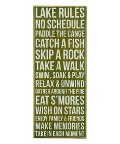 Look what I found on #zulily! Green 'Lake Rules' Box Sign #zulilyfinds
