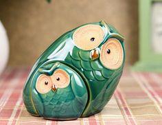 Creativo y lindo porcelana y cerámica de la madre y el bebé de los búhos Figurines Set China artesanal de regalo para el día de la madre y casa Decor