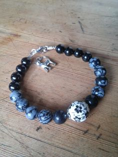 Black Tourmaline and Snowflake Obsidian grounding and protection bracelet. £18.00