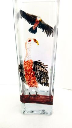 0be7ae1862be8 A square glass vase bird glass painting with a vulture with attitude!  Painted with non-toxic glass paints