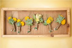 yellow flower and succulent boutineers