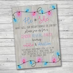 winter gender reveal invitation christmas lights by primepaperie confetti gender reveal gender reveal invitations