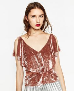 ZARA - WOMAN - FRILLED VELVET TOP                                                                                                                                                                                 More