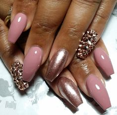 Rose gold / blush pink coffin nails