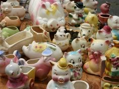 "At the Flea Market - Vintage ""piggy"" collectibles"