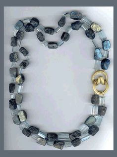 N-2497 18k yellow angela clasp, labradorite and aquamarine