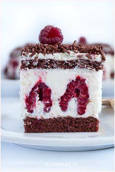 Ciasto z malinami i mascarpone - I Love Bake Cookie Desserts, Sweet Desserts, No Bake Desserts, Sweet Recipes, Cake Recipes, Dessert Recipes, Bolo Original, Mascarpone Recipes, Different Cakes