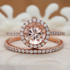 Items similar to Morganite Wedding Ring Set, Rose Gold Peach Round Half Eternity Diamond Band, Bridal Ring Set on Etsy Best Diamond, Gold Diamond Rings, Diamond Bands, Bridal Ring Sets, Bridal Rings, Wedding Rings, H Color Diamond, Diamond Stores, Silver Engagement Rings