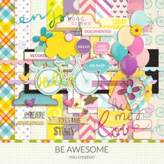 Quality DigiScrap Freebies: Be Awesome full kit freebie from Miu Creation