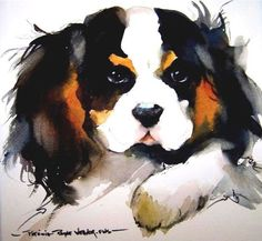 Cavalier King Charles Spaniel Graceful And Affectionate - The Cavalier King Charles Spaniel Is A Direct Descendant Of The King Charles Spaniel And Is Named After King Charles Ii The Earliest Appearance Of This Breed Came In When King Charles Spaniels Were Cavalier King Charles Spaniel, King Charles Dog, Animal Paintings, Animal Drawings, Dog Illustration, Illustrations, Watercolor Animals, Dog Portraits, Dog Art