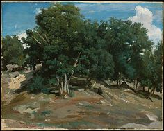 Fontainebleau: Oak Trees at Bas-Bréau, Camille Corot. Met Museum, click Fullscreen for hi-res version.