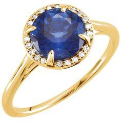 14k Gold Chatham® Blue Sapphire .05CTW Diamond Halo Ring