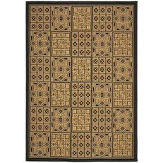 Safavieh Courtyard Collection CY6947-46 Black and Natural Indoor/ Outdoor Area Rug (6'7' x 9'6') -- More forbidden discounts at the link of image : Area Rugs, Runners Pads