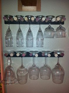 My homemade wine glass holder from wine corks.
