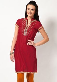 Red 100% Cotton Solids Kurta