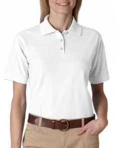 UltraClub Women's Whisper Blend Pique Polo Shirt, White, Medium UltraClub. $11.64