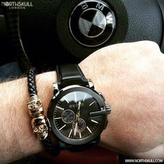 Fan Insagram Pic !   @Adurrmm posted a cool photo of his Black Gucci G-Chrono Watch nicely paired with our Premium Black Nappa Leather & 18kt. Gold Twin Skull Bracelet. Nice Combo !   Available now at Northskull.com   For a chance to get featured post a cool photo of your Northskull jewelry with the tag #Northskullfanpic on Instagram