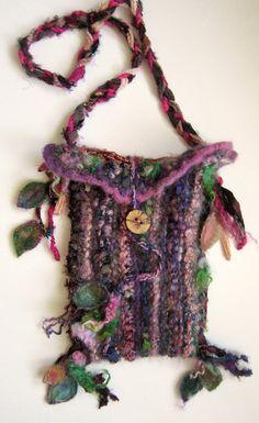 shoulder bag rustic wool felted handknit bag - forest gypsy of the caravan