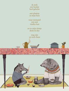 Dutch poem for kids by Nannie Kuiper with illustration by Lieke van der Vorst. Cute Bear Drawings, Animal Drawings, Dutch Artists, Cute Bears, Kids Prints, Children's Book Illustration, Word Art, Cool Words, Childrens Books