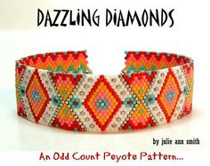 Geometric Abstract Peyote Pattern - Dazzling Diamonds by Julie Ann Smith Designs Odd Count Bead Loom Bracelets, Peyote Beading, Beaded Bracelet Patterns, Bead Loom Patterns, Peyote Patterns, Beaded Jewelry, Crochet Patterns, Beaded Bead, Bracelet Patterns