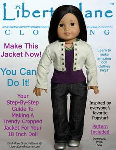 The Liberty Jane cropped jacket 18 inch doll clothes PDF pattern. A great fitting cropped jacket with long sleeves accented with grommets