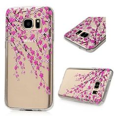 S7 Case,Galaxy S7 Case - BADALink Ultra Thin Anti-slip Soft TPU Case with Fancy Colorful Painting Pattern Clear Transparent Cover for Samsung Galaxy S7 (2016) - Branches with Pink Flowers