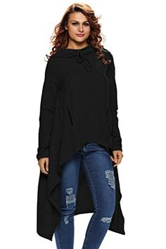Annflat Womens Asymmetrical Long Sleeve Hooded Loose Tunic Top Black XXLarge >>> Check this awesome product by going to the link at the image.Note:It is affiliate link to Amazon.