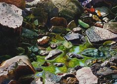 Creek Watercolor Painting Print by Cathy Hillegas, As Above, So Below, 8x10, tree reflections, green, blue, purple, gray, yellow