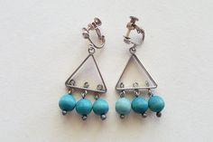 "Aarikka, Vintage ""Suruttomat"" Wood Bead and Silver Plate Earrings, Silver Earrings, Silver Jewelry, Drop Earrings, Silver Plate, 1960s, Teal, Plates, Sterling Silver, Wood"