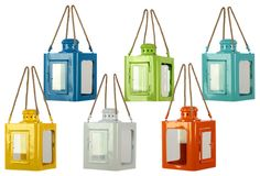 Set of six metal candle lanterns in assorted colors. Product: 6 Piece lantern setConstruction Material: MetalColor: MultiFeatures: Stylish addition to any roomAccommodates: Candle each - not includedDimensions: H x W x D each Metal Lanterns, Candle Lanterns, Lantern Set, Urban Trends, Nebraska Furniture Mart, Outdoor Lighting, Accent Lighting, Lighting Ideas, Just In Case