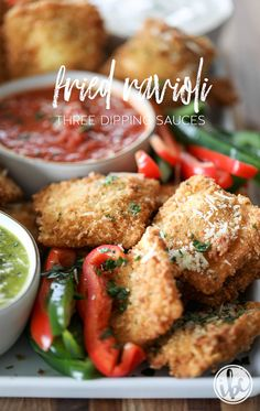 Fried Ravioli with Three Dipping Sauces