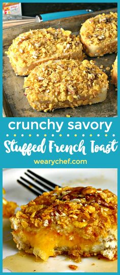 You've never seen anything like this crunchy french toast recipe stuffed with cheese and coated with crunchy pecans and corn flakes! (Mug Recipes Omlet) Savoury French Toast, French Toast Rolls, Nutella French Toast, French Toast Bake, Mug Recipes, Chef Recipes, Brunch Recipes, Breakfast Recipes, Cooking Recipes