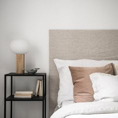 Creating a Bedroom Haven with White Walls + Warm Neutrals (The Design Chaser) Dulux White, Tranquil Bedroom, Linen Headboard, Small Sideboard, Swedish Interiors, Ivy House, Dresser As Nightstand, Bedside, Interior Photography