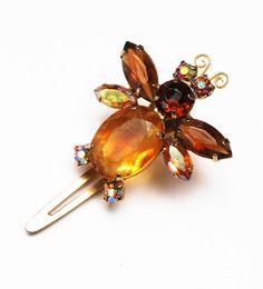 Amber Rhinestone Bug hair clip Vintage by serendipitytreasure