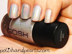 32 Extraordinary White Acrylic Nail Designs to Finish Your Trendy Look Gosh Holographic Nail Polish White Acrylic Nails, White Acrylics, Holographic Nail Polish, I Am Beautiful, Acrylic Nail Designs, Swatch, How To Look Better, Nail Art, Hologram